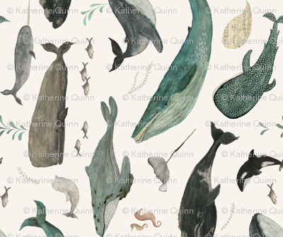 Whale's song tea towel