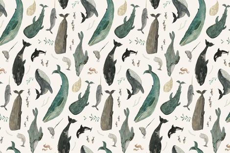 Whale's song tea towel fabric by katherine_quinn on Spoonflower - custom fabric