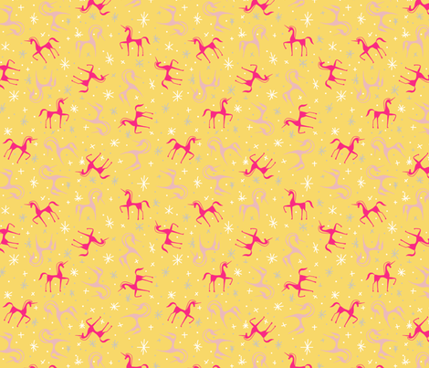 Dreamer_unicorns_yellow fabric by un_temps_de_coton on Spoonflower - custom fabric