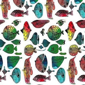 Rainbow fish fabric design