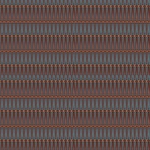 Grey and Terracotta Basket Weave Upholstery Fabric