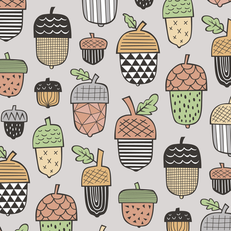 Geometrical Acorns Fall Autumn on Light Grey fabric by caja_design on Spoonflower - custom fabric