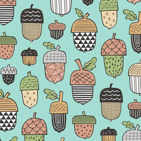 Geometrical Acorns Fall Autumn on Mint Green fabric by caja_design on Spoonflower - custom fabric