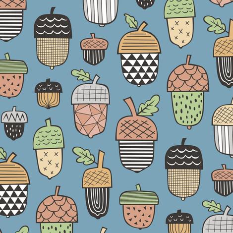 Geometrical Acorns Fall Autumn on Dark Blue fabric by caja_design on Spoonflower - custom fabric