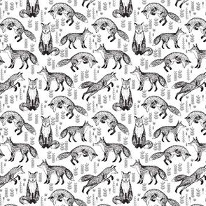 Foxes Fabric // Black and White Nursery baby design by Andrea Lauren