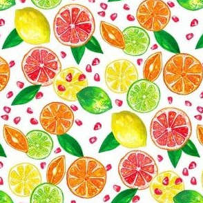 Citrus fruit pattern watercolour
