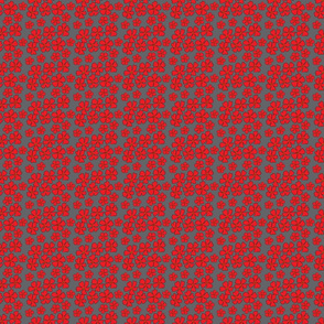 Floral pattern in red and grey