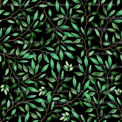 "8"" Floral Elephant Green Leaves 2017 / Black"