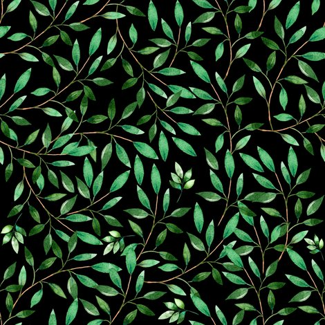 Rfloral_elephant_green_leaves_black_shop_preview