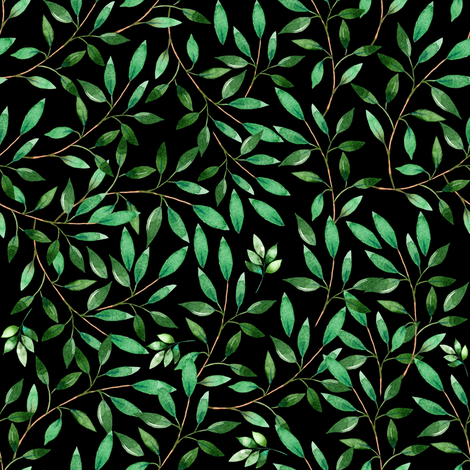 """8"""" Floral Elephant Green Leaves 2017 / Black fabric by shopcabin on Spoonflower - custom fabric"""