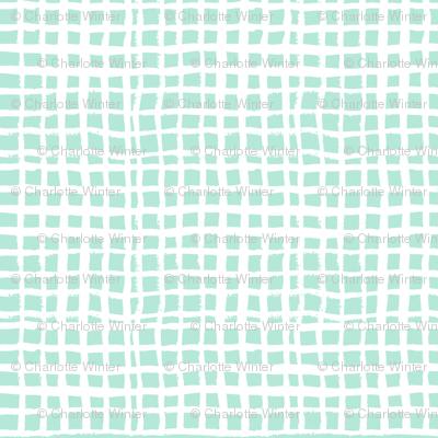 mint grid fabric