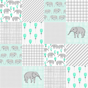 elephant cheater quilt balloon mint and aqua and grey design