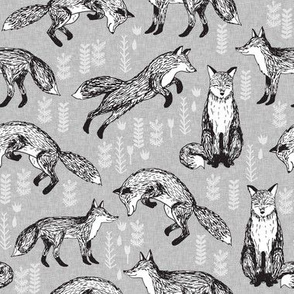 fox fabric // woodland forest hand-drawn illustration cute foxes for nursery baby kids prints