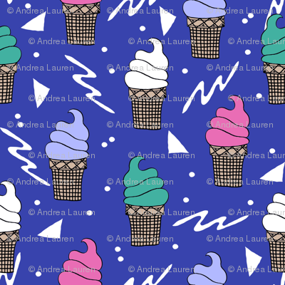 ice cream fabric // 80s 90s rad waffle cone food kawaii design - bright blue