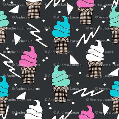 ice cream fabric // 80s 90s rad waffle cone food kawaii design - charcoal