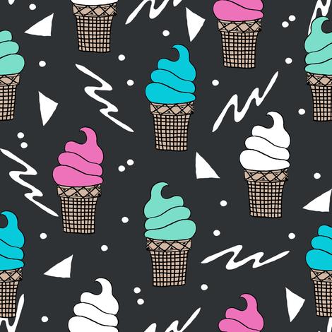 ice cream fabric // 80s 90s rad waffle cone food kawaii design - charcoal fabric by andrea_lauren on Spoonflower - custom fabric