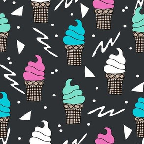 ice cream fabric // 80s 90s rad waffle cone food kawaii design - charcoal