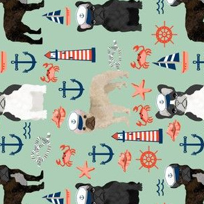 french bulldog nautical fabric summer nantucket anchors design - mint railroad