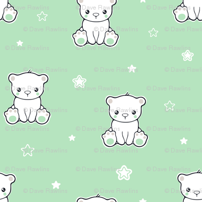 Cute baby bear and stars