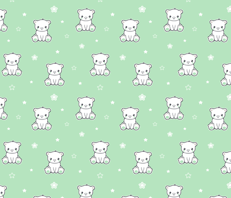 Cute baby bear and stars fabric by nossisel on Spoonflower - custom fabric