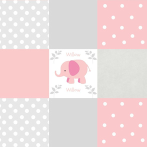 Pink Elephant 6x6 Gray Cheater Quilt 1812-PERSONALIZED Willow