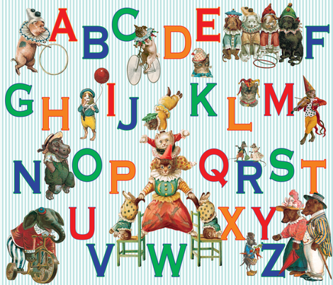 Alphabet Circus fabric by carolyn_grossman on Spoonflower - custom fabric