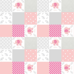 elephant quilt pink gray 2- small 897 PERSONALIZED Willow