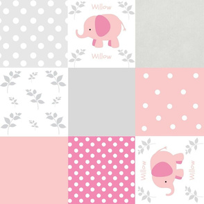 elephant quilt pink gray 2- Large18 wholecloth PERSONALIZED Willow