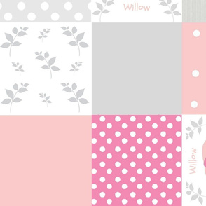 elephant quilt pink gray 2- XL24 wholecloth PERSONALIZED Willow