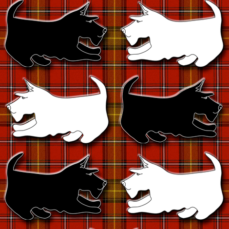 Black and Wheaten Playful Scottish Terriers on Red Plaid fabric by eclectic_house on Spoonflower - custom fabric