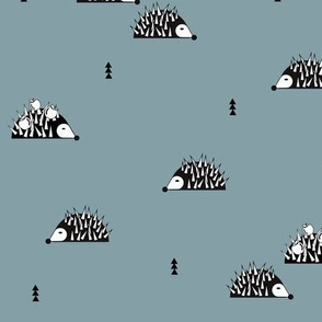 Hedgehogs - dusty blue woodland autumn winter forest || by sunny afternoon