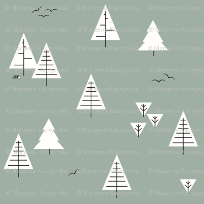 Forest woods trees  christmas tree geometric trees woodland dusty green kale   by sunny afternoon