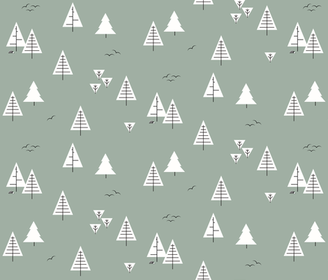 Forest woods trees  christmas tree geometric trees woodland dusty green kale   by sunny afternoon fabric by sunny_afternoon on Spoonflower - custom fabric