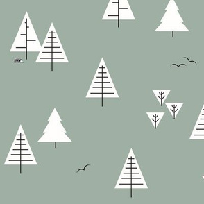 Forest woods trees  christmas tree geometric trees woodland dusty green kale|| by sunny afternoon