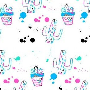 "4"" 80s Cactus Doodle Bright Colors - White"