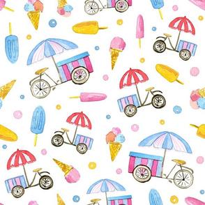 Ice-cream Bikes on white background