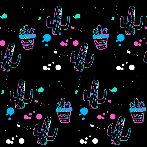 "4"" 80s Cactus Doodle Bright Colors - Black fabric by rebelmod on Spoonflower - custom fabric"