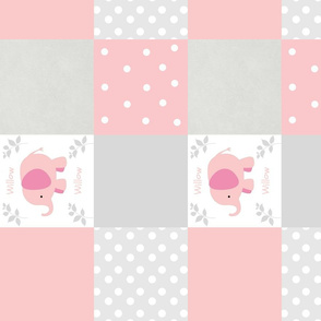 Pink Elephant V 105 Gray Cheater Quilt-PERSONALIZED Willow
