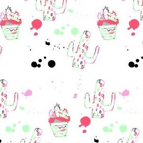 "4"" 80s Cactus Doodle Coral & Green"