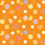 Geometrical vector flowers ( in blue, yellow, fushia and white ), on vivid orange // dress