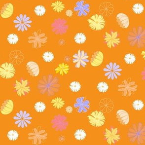Geometrical vector flowers ( in blue, yellow, fushia and white ), on vivid orange // dress