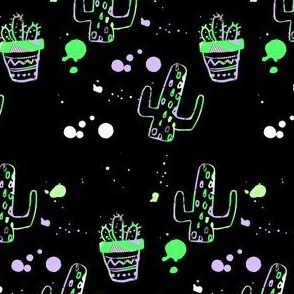 "4"" 80s Cactus Doodle Neon Green & Lilac - Black"
