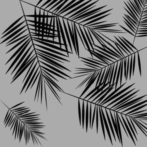 Palm leaves - black on grey winter palm leaf || by sunny afternoon