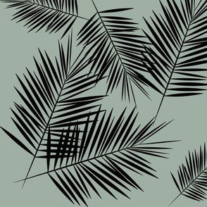 Palm leaves - black on dusty green kale || by sunny afternoon