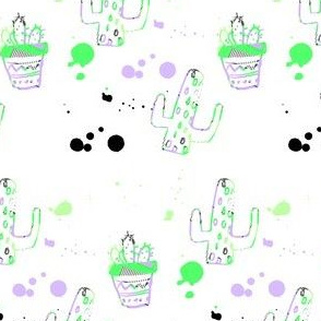 "4"" 80s Cactus Doodle Neon Green & Lilac - White"