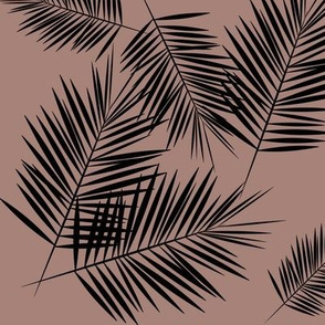 Palm leaves - black on dusty cedar Palm leaf Palm tree tropical winter || by sunny afternoon