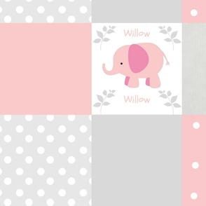 Elephants 8x8 quilt  pink gray PERSONALIZED Willow