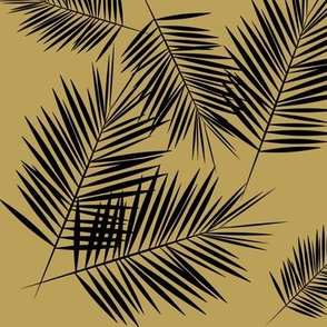 palm leaves - black on mustard ||by sunny afternoon