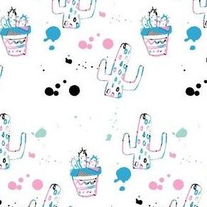 """4"""" 80s Cactus Doodle - Original"""