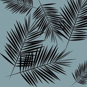 Palm leaves - palm leaf tropical, dusty blue and black || by sunny afternoon